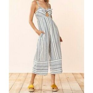 Red Carter Kimberly Chambray Stripe Jumpsuit sz L
